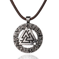 pagan amulet pendant Men necklace Scandinavian Viking jewelry Odin 's Symbol of Norse Viking Warrior Slavic Norway Valknut