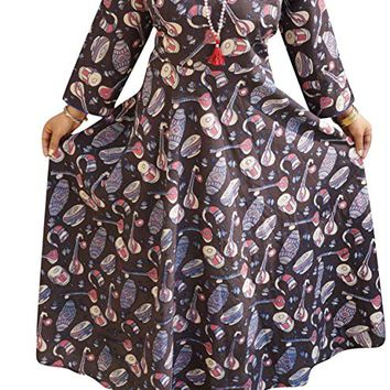 Mogul Interior Womens Empire Long Irregular Floral Maxi Dress S/M/L (Brown,Pink): Amazon.ca: Clothing & Accessories