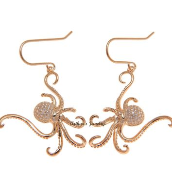 ROSE GOLD PLATED 925 STERLING SILVER HAWAIIAN OCTOPUS HOOK EARRINGS BLING CZ