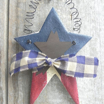 Primitive Patriotic Star Large Salt Dough Ornament