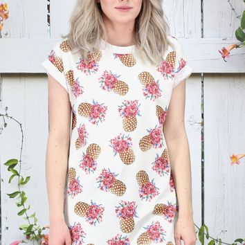 Floral Crown Pineapple Print Top {Ivory}