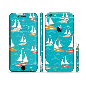 The Vector Colored Sailboats Sectioned Skin Series for the Apple iPhone 6