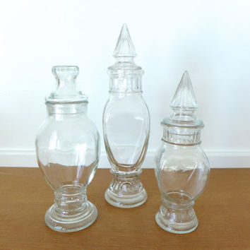 Glass apothecary jars for display, terrariums or storage