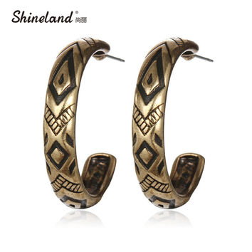 Retro Tibetan Antique Gold Silver Plated Vintage Round Carving Hoop Earring