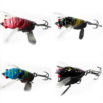 Random Color New Promotions 1 Pc 4-Color Insect Cicada Baits Fishing Lures Bass Crank Baits 4cm Float Baits High Quality