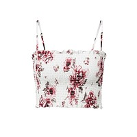 Glad You Are Here White Pink Ruffled Hem Floral Strapless Sleeveless Shirred Crop Tube Top