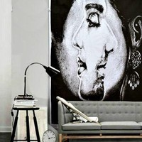 Couples Him Facing Her Boho Art Wall Cloth Tapestry