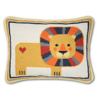 Jonathan Adler Lion Needlepoint Throw Pillow