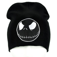 Negative Jack Skellington in Black Beanie Knit Cap Nightmare Before Chirstmas