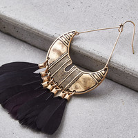 AEO Black & Gold Feather Statement Earrings, Black