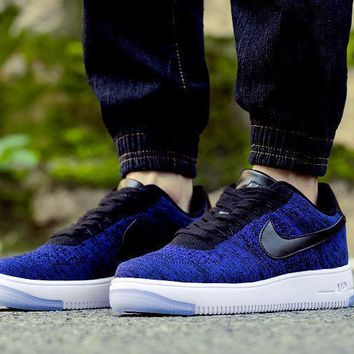 PEAPON Nike Air Force 1 Flyknit Af1 817419-400 Blue For Women Men Running Sport Casual Shoes Sneakers