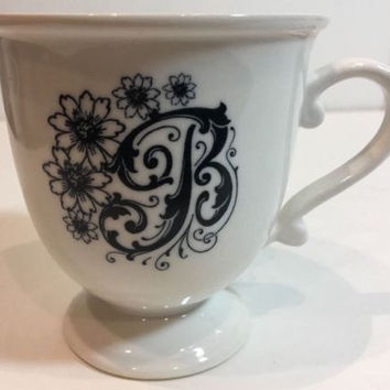 Anthropologie Monogram Pedestal Coffee Mug Personalized Name Letter Initial B