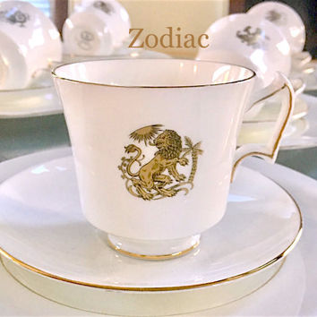 12 Tea Cups Trios, Astrology, Zodiac Signs, Luncheon Plates, Teacup Sets, Unique Wedding Gift, Vintage Christmas Gift