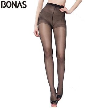 BONAS Summer Nylon Seamless Pantyhose Women's Black Thin Tights Fashion Stretchy Hosiery Spandex Pantyhose Solid Color Female