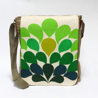 Green Retro Canvas Messenger Bag - upcycled with vintage fabric