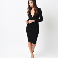Retro Style Black Shirred Stretch Long Sleeve Jersey Wiggle Dress