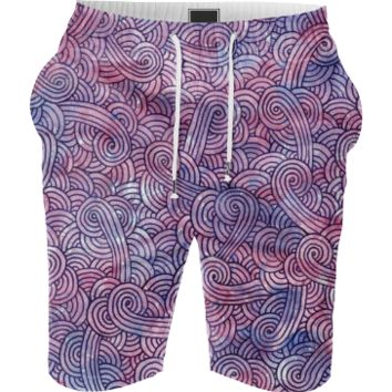 Purple swirls doodles Summer Short
