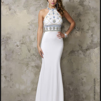 Jersey Fabric Sparkling Beading Handwork Mermaid Prom Dresses With Stones Evening Gowns Sexy Halter Neck Open Back Formal Dress