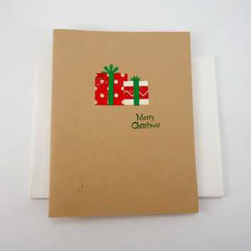 Merry Christmas Cards, Kraft Christmas cards, Handmade holiday cards, blank greeting cards set of 6, Christmas in July