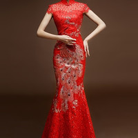 Beaded Mesh Phoenix Mermaid Wedding Qipao Gown