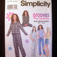 Pajama Pants and Tops for Teens Size 3/4 - 9/10 Simplicity 8911 Sewing Pattern Uncut