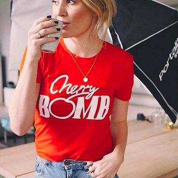 Hot Sale Women tshirt Funny Cherry Bomb Letters Printed  Short Sleeved Cotton Summer Top Harajuku Plus T shirt Women Tumblr New