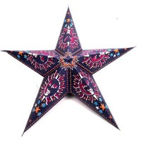 "Smiling Sun 5 Point Paper Star Lantern With 12"" White Electric Cord SWSSNO"