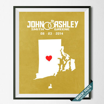 Personalized, Print, Rhode Island, Wedding, Anniversary, Customized, Couple, Gift, Map, Custom, Wall Art, Home Decor, Marriage, Love [NO 38]