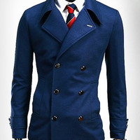 Blue Lapel Pocket Design Long Sleeve Blazer
