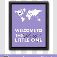 amethist baby wall decor welcome to the world little one gift for new parents map print modern nursery for new baby baby room print for girl