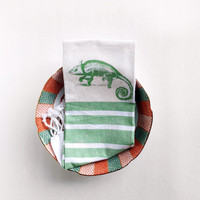 SALE- Chameleon Kitchen Dish Towel - Tea Towel - Green  and White Striped with fringe - Reptile, housewarming gift - Fall, Stripes