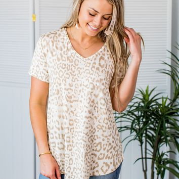 Grace & Lace Perfect Pocket Tee - Ivory Leopard