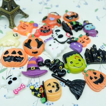 pumpkin ghost Witch Hat Broom owl  ,flatback Cabochons for Halloween decoration,DIY,scrapbooking decorations