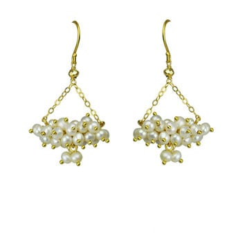 Pearl Cluster Chandelier Earrings