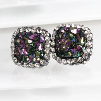 Square Druzy and Rhinestone Halo Earrings