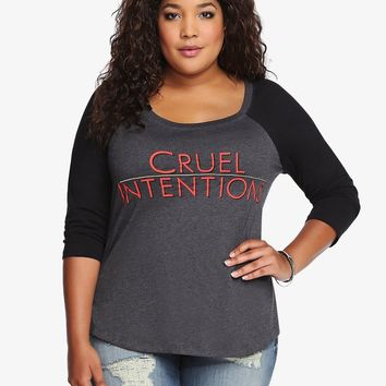 Torrid Plus Size CRUEL INTENTIONS Raglan T-Shirt NWT 100% Authentic & Official