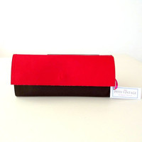 Women's  wallet vegan leather / red and brown faux leather / foldover / handmade in Italy /