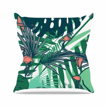 "bruxamagica ""Tropical Leaves Flamingo White"" White Green Animals Floral Digital Mixed Media Outdoor Throw Pillow"