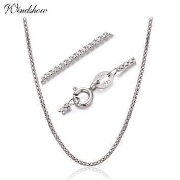 "1.5mm width 35cm-80cm 925 Sterling Silver Popcorn Chain Necklaces Women Jewelry Girls Collier kolye 14""-32"" Italy collares mujer"
