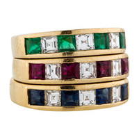 2.00ctw Diamond, Ruby Sapphire and Emerald Stackable Rings
