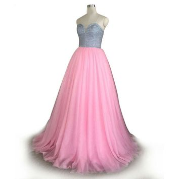 Pink Prom Dresses sweetheart silver Crystal Empire Waist Pleat Floor Length Elegant Evening Dresses