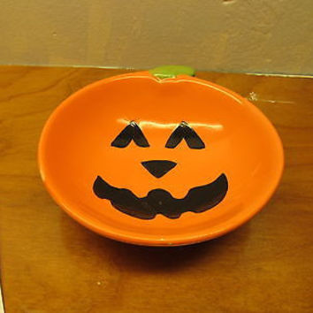 CERAMIC PUMPKIN CANDY DISH