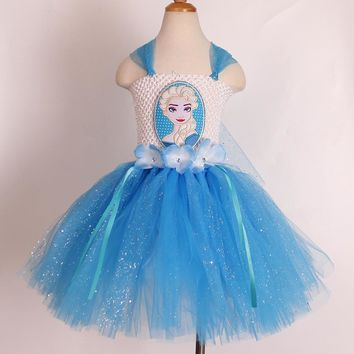 Elsa Dress Inspired Queen Elsa Tutu Dress Costume Inspired Snow Queen Tutu Dress Size to 12years