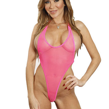 Bitsy's Bikinis Solid Neon Pink See Through Mesh Monokini Micro G-String One Piece Bikini Minimal Coverage