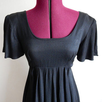 Vintage 90s Black Mini Dress - Babydoll Dress - Grunge - Empire Waist - Rampage - Riot Girl - Size Small