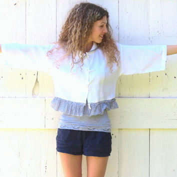 Eco White Cropped Jacket , upcycled funky size S-M linen one of a kind assymetrical indie fashion recycled repurposed clothes by wearlovenow