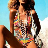 Bandage Deep V Print One Piece Swimsuit Swimwear