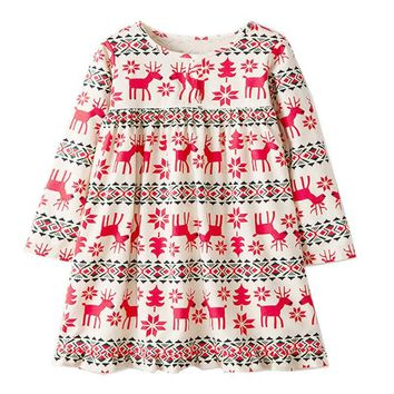 Girls Princess Dress Chrismas Party Dress Long Sleeves Cartoon Cotton Dress for Baby Girl Cute Reindeer Print Floral Dress