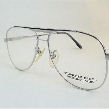 Silver and Black Aviators, Mens Silver Eyeglasses Frames, Mens Stainless Steel Metal Glasses, Flexible Temple Arms, New old Stock