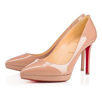 Best Online Sale Christian Louboutin Cl Pigalle Plato Nude Patent Leather 100mm Stiletto Heel 16w